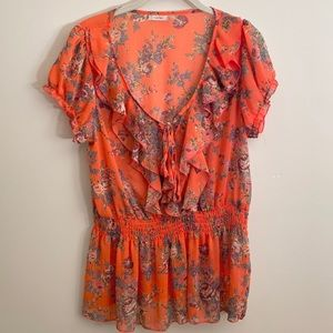 Poetry Orange Floral Ruffle Trim Blouse